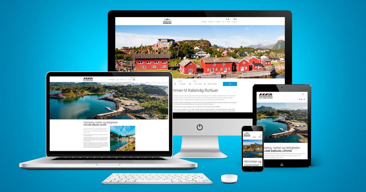 nettsider for Kabelvåg Rorbuer og Sandvika Camping i Lofoten