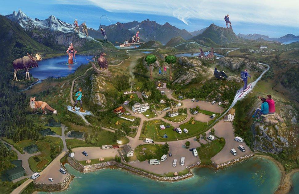 kabelvag feriehus og camping illustrasjon ken jeremiassen